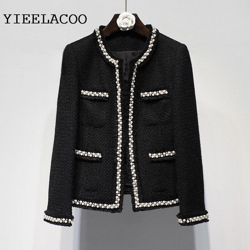 Black tweed women jacket spring / autumn / winter woolen coat new Wool handmade beads classic  jacket Ladies