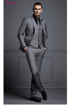 Linyixun 2017 new design black gray two button Groom Tuxedos Best man Suit Wedding Groomsman Men Suits Bridegroom(China)