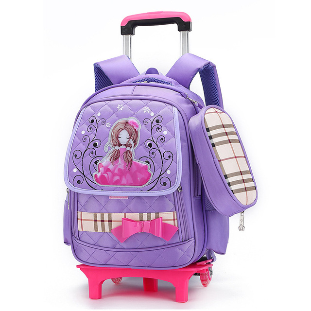 Girls Trolley School Bag Cartoon Backpack Wheels School Bag with ...