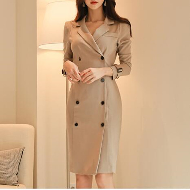 2017 Autumnn Winter Dress Women Double Breasted Long Sleeve Solid