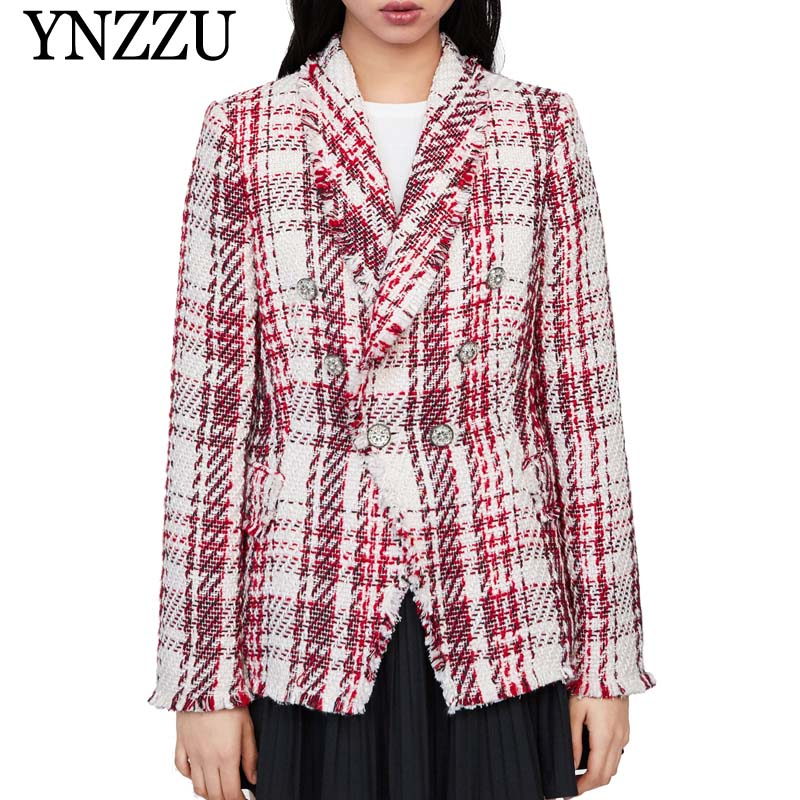 Vintage Tweed Plaid Blazer Women 2019 Spring Blend Jacket Coat Mujer Fashion Office Ladies Female Blazer