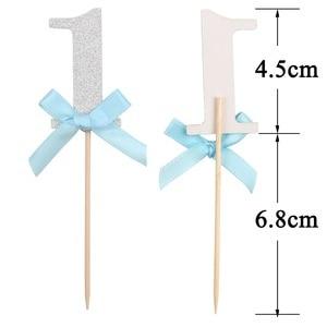 Image 3 - 10/6Pcs גליטר נייר 1 Cupcake Toppers ראשון מסיבת יום הולדת קישוטי 1st יום הולדת שלי אחד שנה תינוק ילד ילדה וגינה