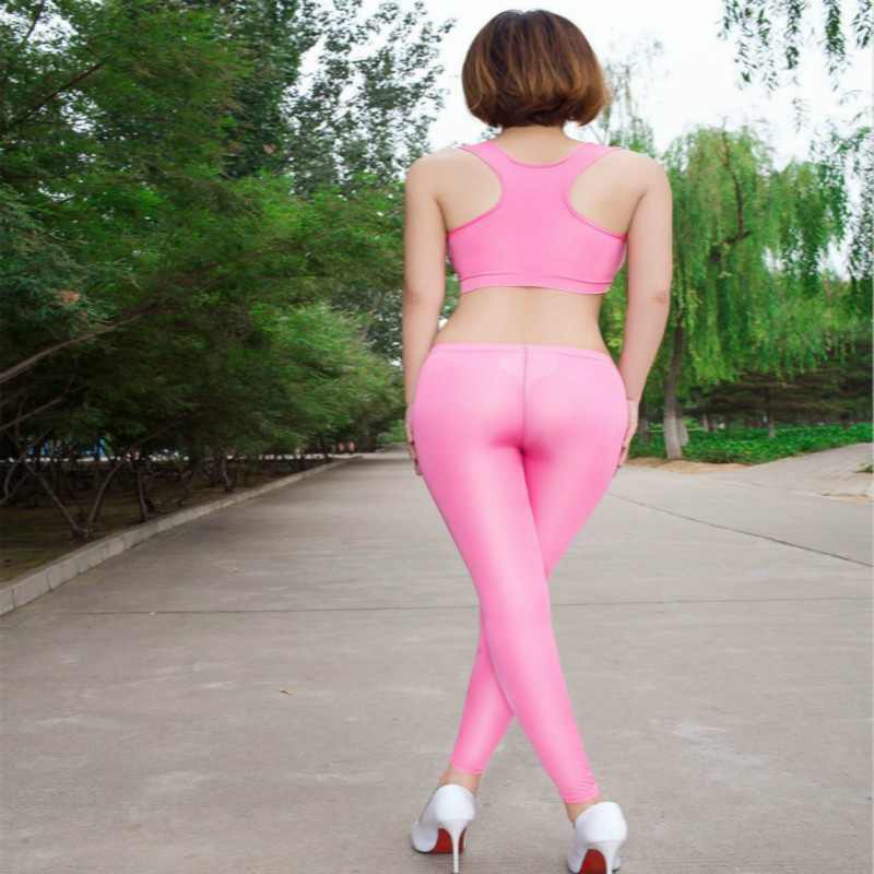Sexy Women Pants Ice Silk Smooth Transparent Pencil Pants Candy Color See Through Elastic Skinny Leggings Lossy Low Waist