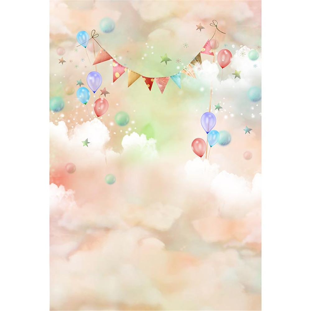 Pastel Pink Green White Clouds Baby Kids Birthday Party ...