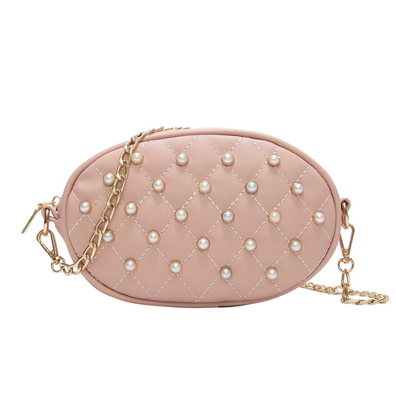 Classic Pearl Chain Bags Women Waist Bag Sweet PU Leather Shoulder Bags Casual Solid Belt Ladies Waist Pack 8131