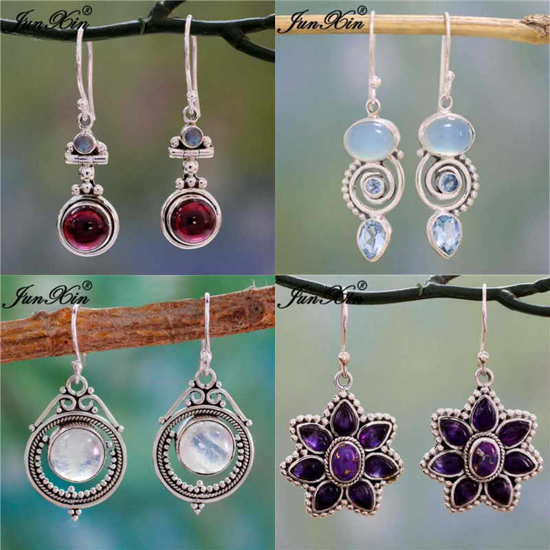 JUNXIN Antique Silver Geometry Moonstone Drop Earrings For Women Boho Round Red Blue Opal Earrings Female Zircon Wedding Jewelry