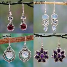 JUNXIN – boucles d'oreilles en pierre de lune pour femme, Style Antique, Style bohème, rond, rouge, bleu, opale, Zircon, bijoux de mariage