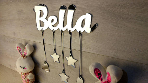 Cartoon Nursery Wall Decor, , Personalized Mirror Name Sign Baby Gift , Wall Hanging Letters, Custom Name Sign