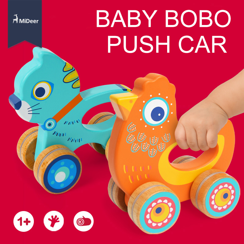 MiDeer Cute Animal Baby Wooden Toy Push Car Infant Development Educational Toddler Toys for Baby Newborn Birthday Gift Chick Cat baby toys