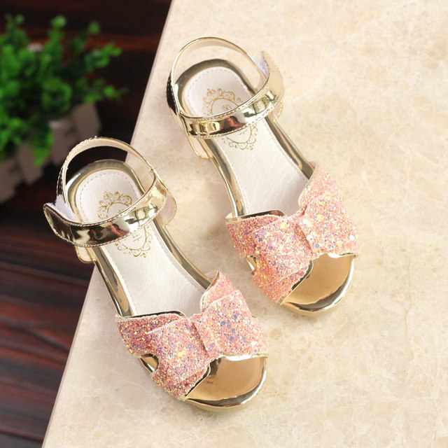 SLYXSH Summer new children sequins bright leather bow baby sandals girls shoes student princess open toe sandals