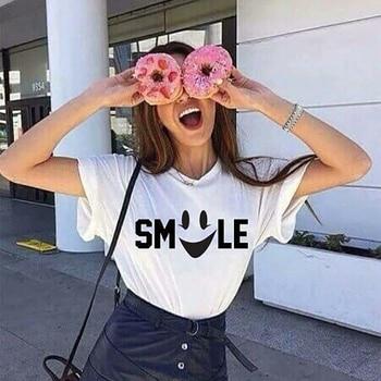 Summer T Shirt Women Tops Cotton Tumblr Tshirt Smile Face Gift for Friends Plus Size Simple Emoji Fashion Tee Shirt Femme XS-3XL