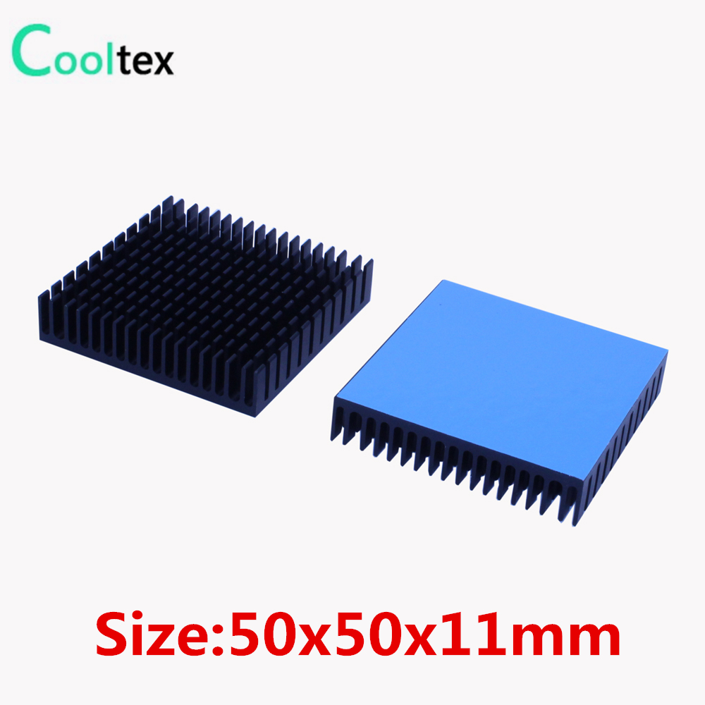2pcs Aluminum Heatsink 50x50x11mm Cooler Radiator For Electronic Chip LED Cooling With Thermal Conductive Double sided Tape