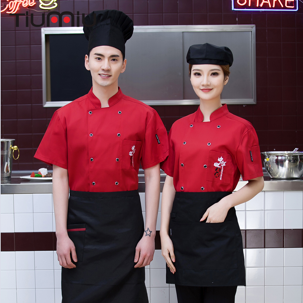 Unisex Chinese Style Embroidery Pocket Double Breasted Short Sleeve Summer Kitchen Chef Work Uniform Hotel Catering Jacket Apron