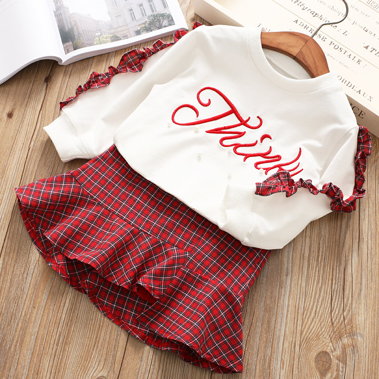 New Fashion Girls Clothing Set Long Sleeve White Pearl Shirt With Fishtail Skirt 2018 Spring Children Clothing Suit For Kids