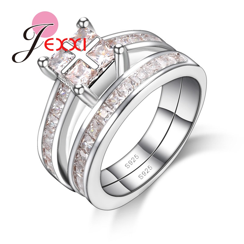 JEXXI Hotsale Rings Set Jewelry Fashion Clear Cubic Khaki Crystal Paved Cross Design Women Finger Band 925 Sterling Silver Gift