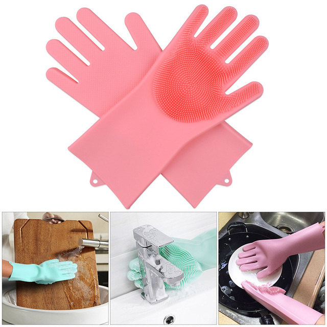 Multifunctional Silicone Cleaning Gloves Magic Dish Washing Gloves Dishwashing Glove Kitchen Accessories Household Car Pet Brush