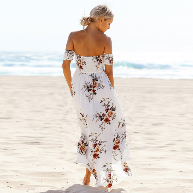Off shoulder beach Floral print Vintage chiffon white maxi