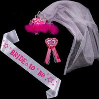 12sets of Wedding events bride to be set including satin sash tiara & badge for bachelorette party and Hen fun events supplies