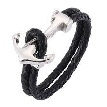 Men anchor Bracelet black Braided rope chain Leather bracelet Bangles for men jewelry Accessories  BB767 все цены