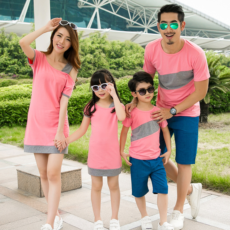 2018 Mother and daughter dress family matching clothes couple clothes inclined shoulder dress boys T-shirt mother father baby