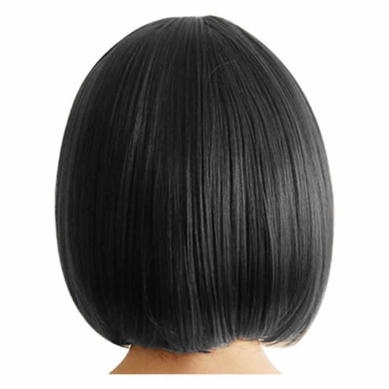 Женская сексуальная полная челка парик короткий парик прямые волосы косплей Праздник Вечеринка танец Выпускной украшение