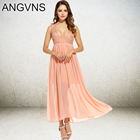 Save 29.38 on ANGVNS Summe Long Dress Women Lady Elegant Spring Floral Lace Chiffon Sequined Maxi Party Beach Dress 2017 Vestidos Pink, White