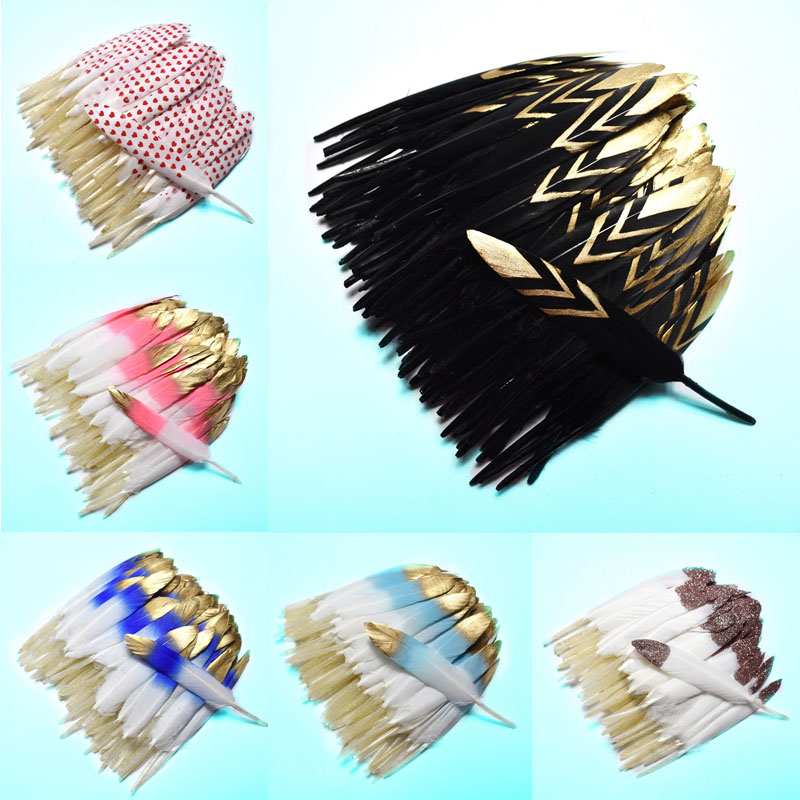 20pcs Dipped Gold natural Duck Feathers for crafts 10 15CM Colorful Feathers for jewelry making DIY Home Party plumes decoration in Feather from Home Garden