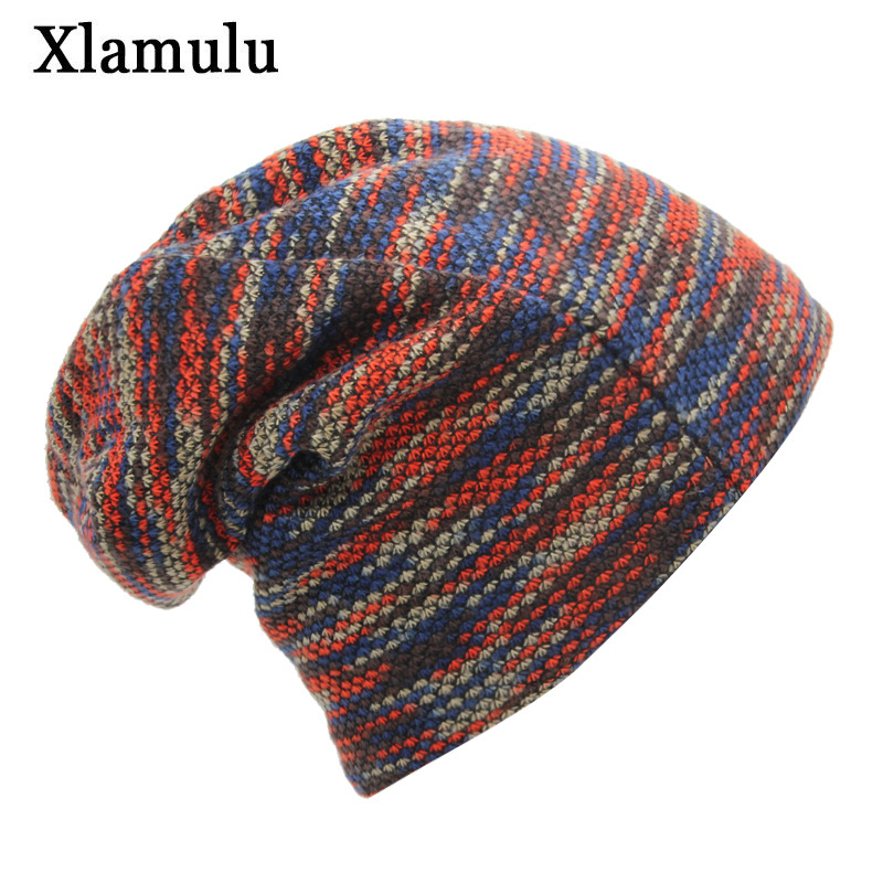 Xlamulu Knitted Hat Winter Hats For Women Men Skullies Beanies Mask Striped Beanie Gorros Bonnet Warm Baggy Soft Thick Hat Caps 1
