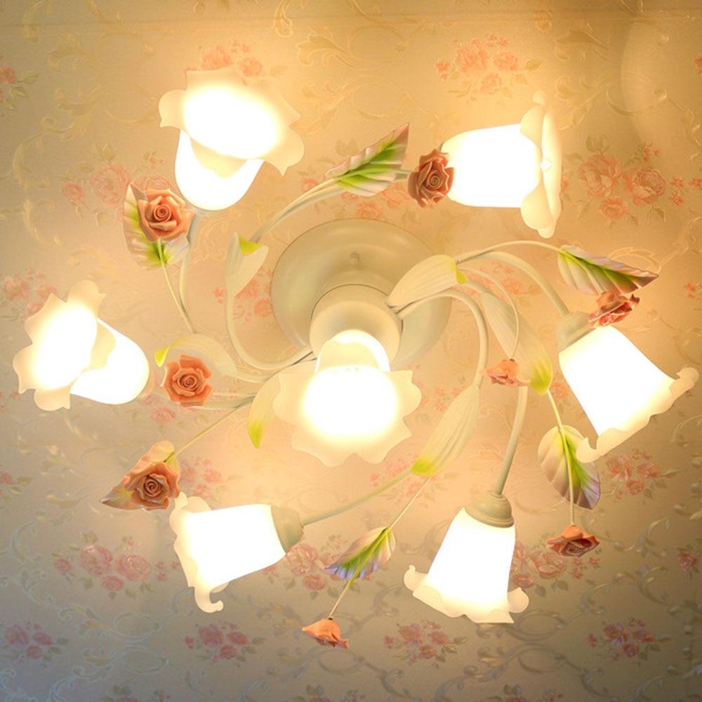Ceiling Lamp Livingroom 110-220v Loft Home Lighting Glass Lights Ceiling LED Flush Mount Flower Garden Ceiling Lamp Luminarias