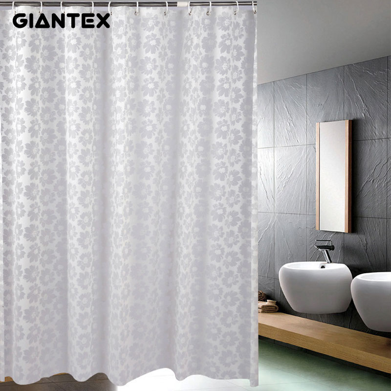 GIANTEX Silver Flower PEVA Bathroom Waterproof Shower Curtains With Plastic  Hooks U1011(China (Mainland