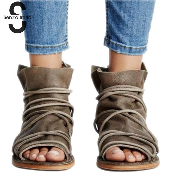 Senza Fretta Women Sandals New Vintage Sandals Womens Roman Flat Sandals Woman Open Toe Gladiator Female Sandals Sandalias Mujer недорго, оригинальная цена