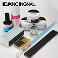 1Set Nail Art Acrylic Powder Pen Brush File Liquid Primer Gel Buffer Forms DIY Tools uv lamp polish manicure Kit