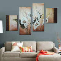 4 Panels Callas Flowers Group Canvas Art Home Decor Wall Decoration Oil Painting On Canvas For