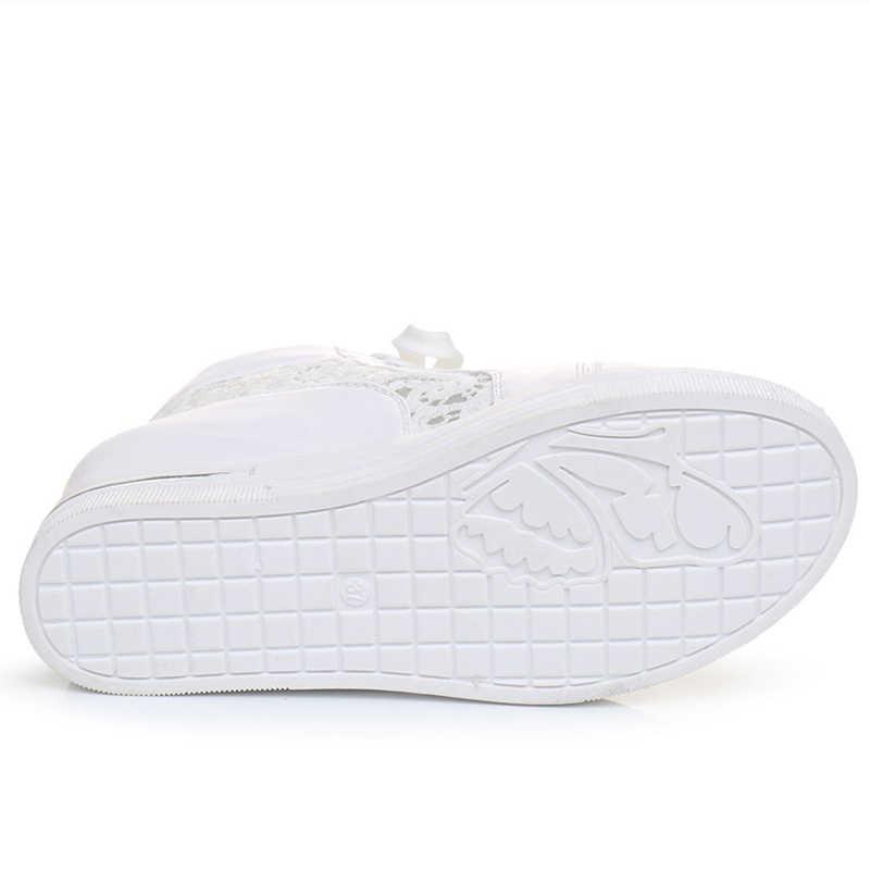 Kadın Kama Platformu Kauçuk Brogue Deri Lace Up Yüksek topuk Ayakkabı Sivri Burun Artan Sürüngen Beyaz Gümüş Ayakkabı