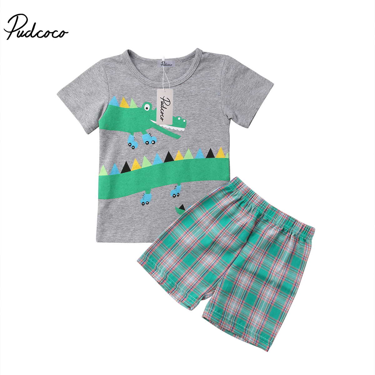 Для маленьких мальчиков с изображением крокодила футболка Топы + клетчатые шорты 2 шт. Летняя Одежда наборы Детская одежда