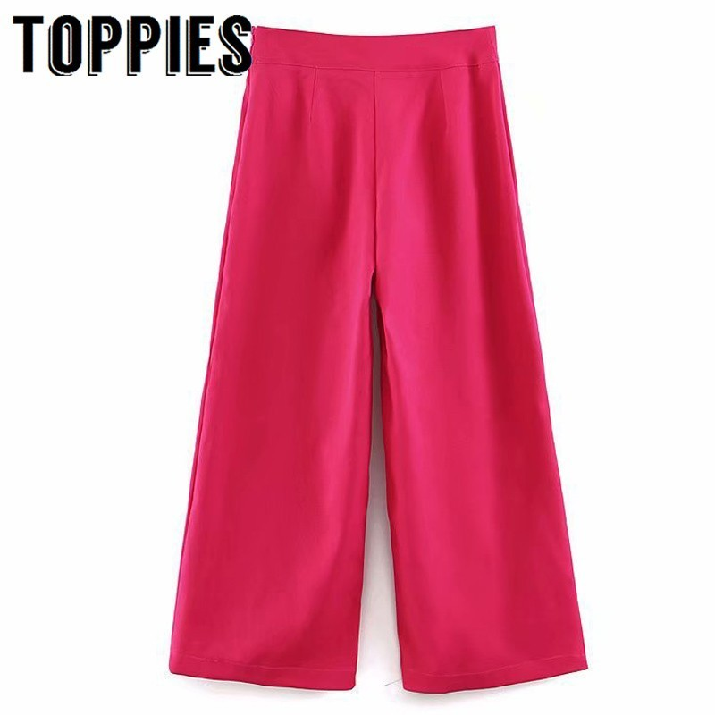 2019 Fashion Rose Pink   Pants   Women High Waist   Wide     Leg     Pants   Office Lady Summer Loose Palazzo Trousers