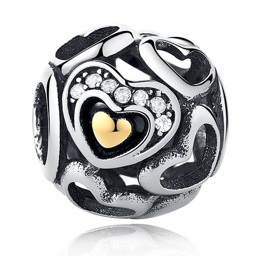 DIY Серебряный Шарм подходят Pandora браслет Бусины стерлингового серебра 925 Любовь мотаться Шарм crystal сердце, цветок, башня, дерево из бисера - Цвет: PY1385