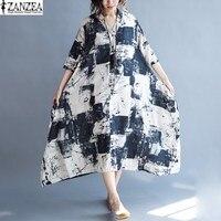 Tops Blusas 2017 ZANZEA Women Floral Printed Short Sleeve Dress Vintage Female V Neck Front Buttons