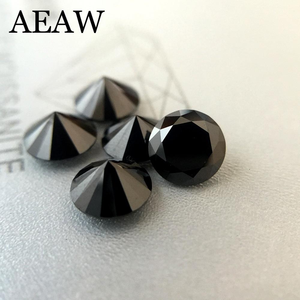 Round Brilliant Cut 0.3ct Carat 4mm Black Moissanite Loose Stone VVS1 Excellent Cut Grade Test Positive Lab Diamond (1pcs)