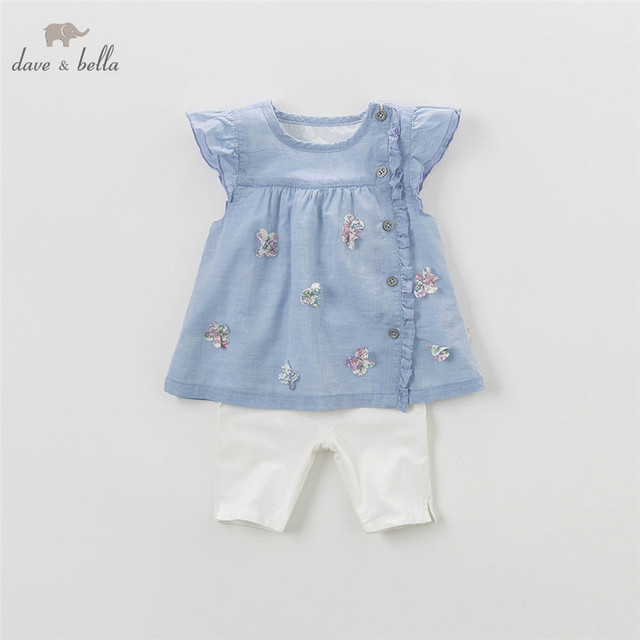 9a5ffc29eb00 DB4363 dave bella summer baby girls blue clothing sets children ...