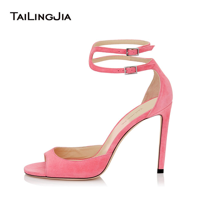 aec3e57a68e0 Women Peep Toe High Heel Black Sandals Pink Stiletto Dress Heels Cover Heel  Elegant Nude Wedding Shoes Large Size Wholesale 2018