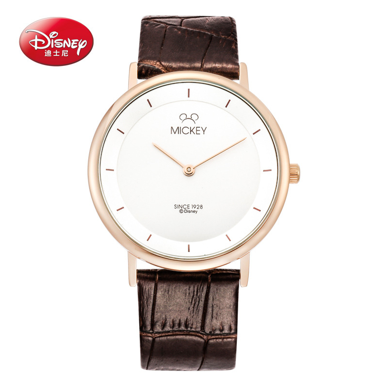 Mujer relojes hombre marca Disney Simple de cuarzo cuero par de relojes  mujeres hombres reloj resistente fbb88b6623d0