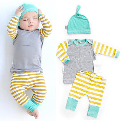 Newborn Baby Girls Boys Long Sleeve Striped Tops T-shirt + Pants + Hat 3pcs  Coming Home Outfits Set girls baby long sleeve tops t shirt bib cartoon minnie 2pcs outfits set 1 5y