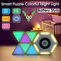 Intelligent Block Lamp Night Light 30 Colors LED Motion Activated Sensor Indoor Room Lamp DIY Tetris Puzzle Light Game