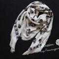Nueva Marca de Lana Mezclada Impresión Del Cráneo de la Bufanda de Seda Bufandas Para Las Mujeres Diseñador Skulls Imprimir Bufanda de Invierno Chal de Alta Calidad S208