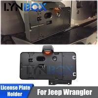 Black Rear License Plate Holder Bracket Frame Tag With Backup LED Light For Jeep Wrangler JK & Unlimited 2007 2017 Cars Assembly