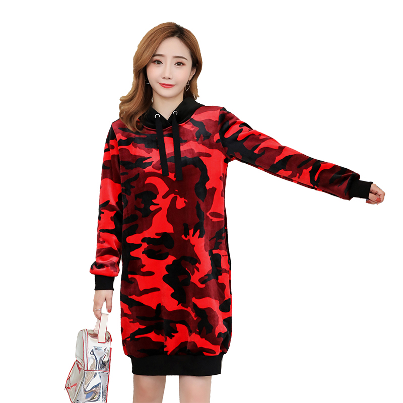 Velvet Maternity Hoodies Pullover Sweatshirt Camouflage Pregnant Clothing Outerwear Warm Thickened with Hooded Pregnancy Winter red hooded design pullover long sleeves sweatshirt