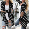 2017 Hot Fashion Women Striped Cardigan Knitted Outwear Casual Loose Eblow Patchwork Thin Coat Jackets Plus Size Sweaters