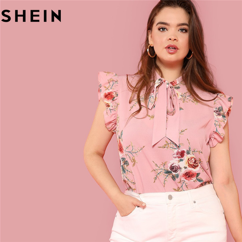 SHEIN Floral Print Pink Ruffle Sleeve Tie Neck Plus Size Elegant Women Blouses Summer Fashion Office Lady Sleeveless Top Blouse