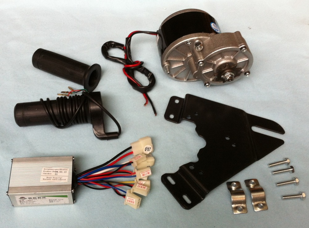 MY1016Z2 250W 36V gear brush motor with Motor Controller and Twist Throttle, DIY Electric Bicycle Kit my1016z2 250w 36v gear brush motor with motor controller and twist throttle diy electric bicycle kit